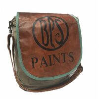 Leather & Canvas Vintage Shoulder Bag w BPS Artwork