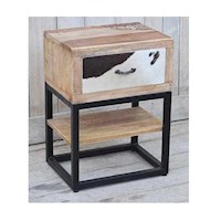 Cow Hide Mango Hardwood and Cast Iron Bedside Table