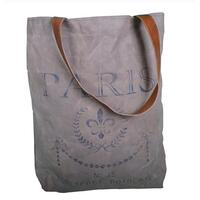 Leather & Vintage Canvas Shoulder Bag Paris Design