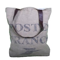 Postes France Army Tent & Rich Leather Shoulder Bag