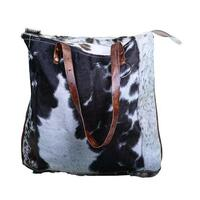 Genuine Cowhide Handbag with Leather Straps