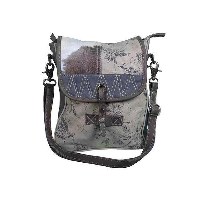 249c256cb8b6 h m s Remaining. COWHIDE AND CANVAS MINI SATCHEL