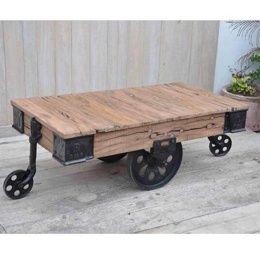 H M S Remaining. INDUSTRIAL WHEELED COFFEE TABLE