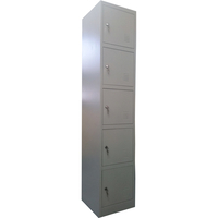 5 Door Vertical Metal Storage Cabinet Locker - Grey