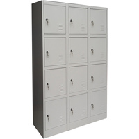 12 Door Metal Storage Cabinet w/ Locks & Keys Grey