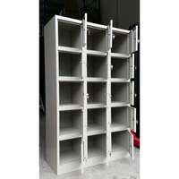 15 Door Metal Storage Cabinet w/ Locks & Keys Grey