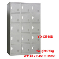 15 Door Metal Storage Cabinet w/ Digital Locks Grey