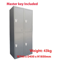 4 Door Metal Storage Cabinet w/ Digital Locks Grey
