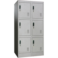 6 Door Metal Storage Cabinet w/ Locks & Keys Grey