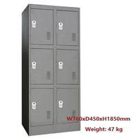 6 Door Metal Storage Cabinet w/ Digital Locks Grey
