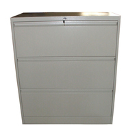Heavy Duty Metal 3 Drawer Lateral File Cabinet Grey