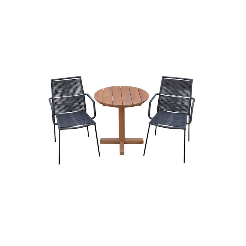 Asta 3 Piece Rope Outdoor Furniture Setting Grey