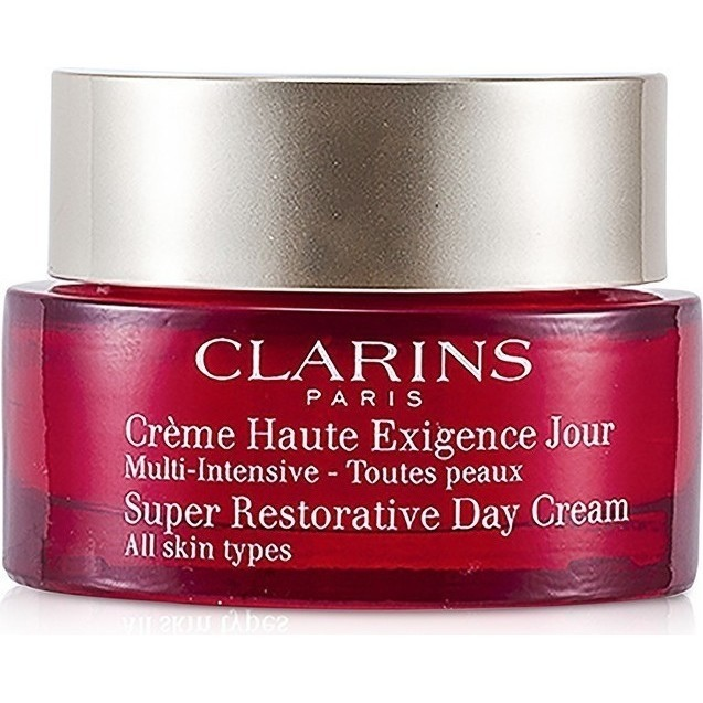 2 Pack - Clarins Super Restorative Day Cream All Skin Types 1.70 oz 8 Pack EOS Evolution of Smooth Strawberry Sorbet Lip Balm 0.25 Oz Each