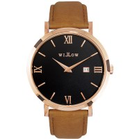 Willow Roma Leather Watch in Rose Gold w/ Tan Strap