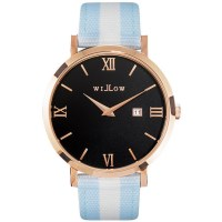 Willow Roma Watch in Rose Gold w Blue & White Strap