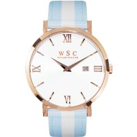 Willow Siena Watch in Rose Gold w/ Blue White Strap