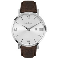 Willow Venezia Watch in Silver with Brown Strap