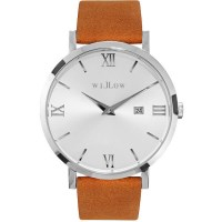 Willow Venezia Leather Watch in Silver w/ Tan Strap
