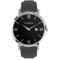 Willow Treviso Leather Watch in Silver w Grey Strap