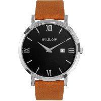 Willow Treviso Watch in Silver w/ Tan Leather Strap