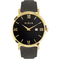 Willow Milano Leather Watch in Gold w/ Grey Strap
