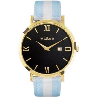 Willow Milano Watch in Gold w/ Blue & White Strap