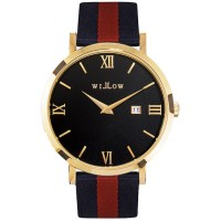 Willow Milano Watch in Gold w Navy Blue & Red Strap