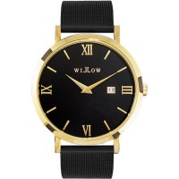 Willow Milano Watch w/ Mesh Strap in Black & Gold