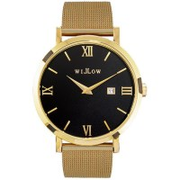 Willow Milano Watch in Gold & Black with Mesh Strap