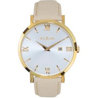 Willow Napoli Watch in Gold w/ Beige Leather Strap