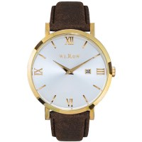 Willow Napoli Leather Watch w Strap in Gold & Brown