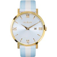 Willow Napoli Watch in Gold with Blue & White Strap