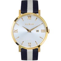 Willow Napoli Watch in Gold w Strap Navy Blue White
