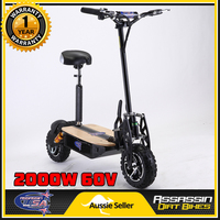 Brushless Motor Electric Scooter in Black 2000W 60V