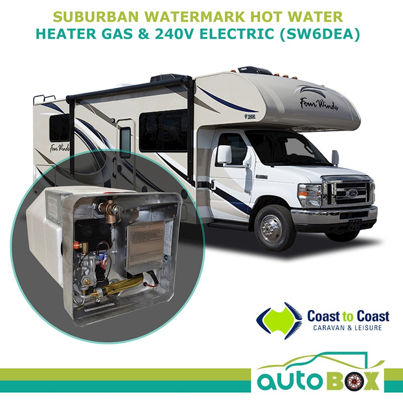 Suburban Watermark Caravan Rv Hot Water Heater With Door Gas & 240V (Sw6dea)
