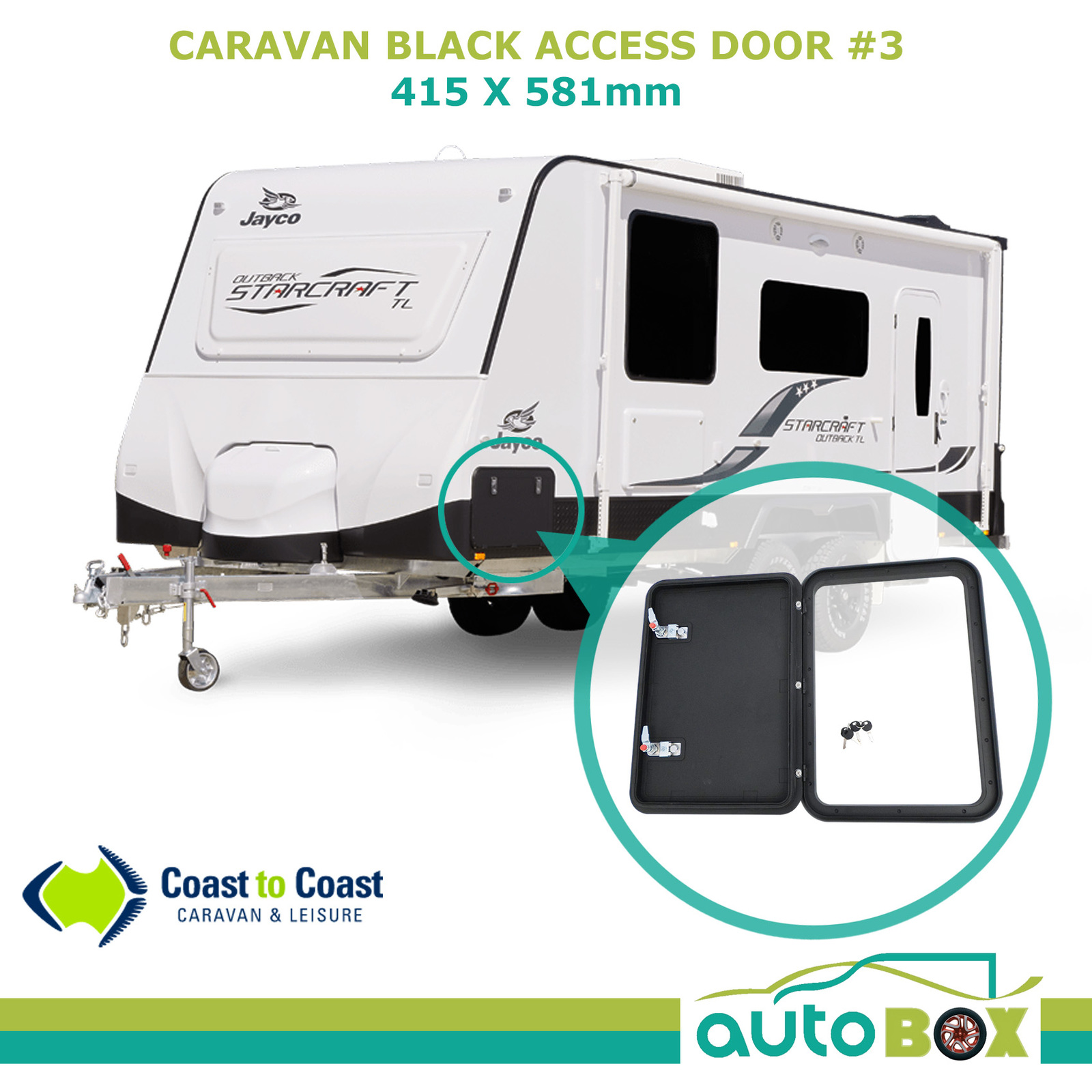 CARAVAN ACCESS DOOR #3 415 x 581mm Ext Black RV Camper Trailer Motorhome  Jayco