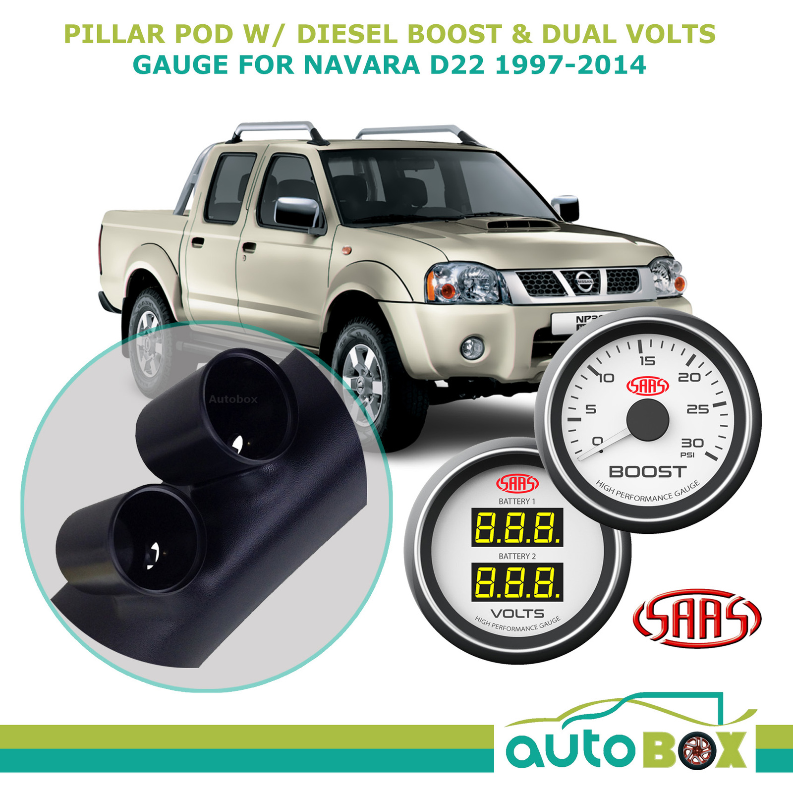 Pillar Pod w/ White Boost & Dual Volts Gauge for Nissan Navara D22 1997-2014