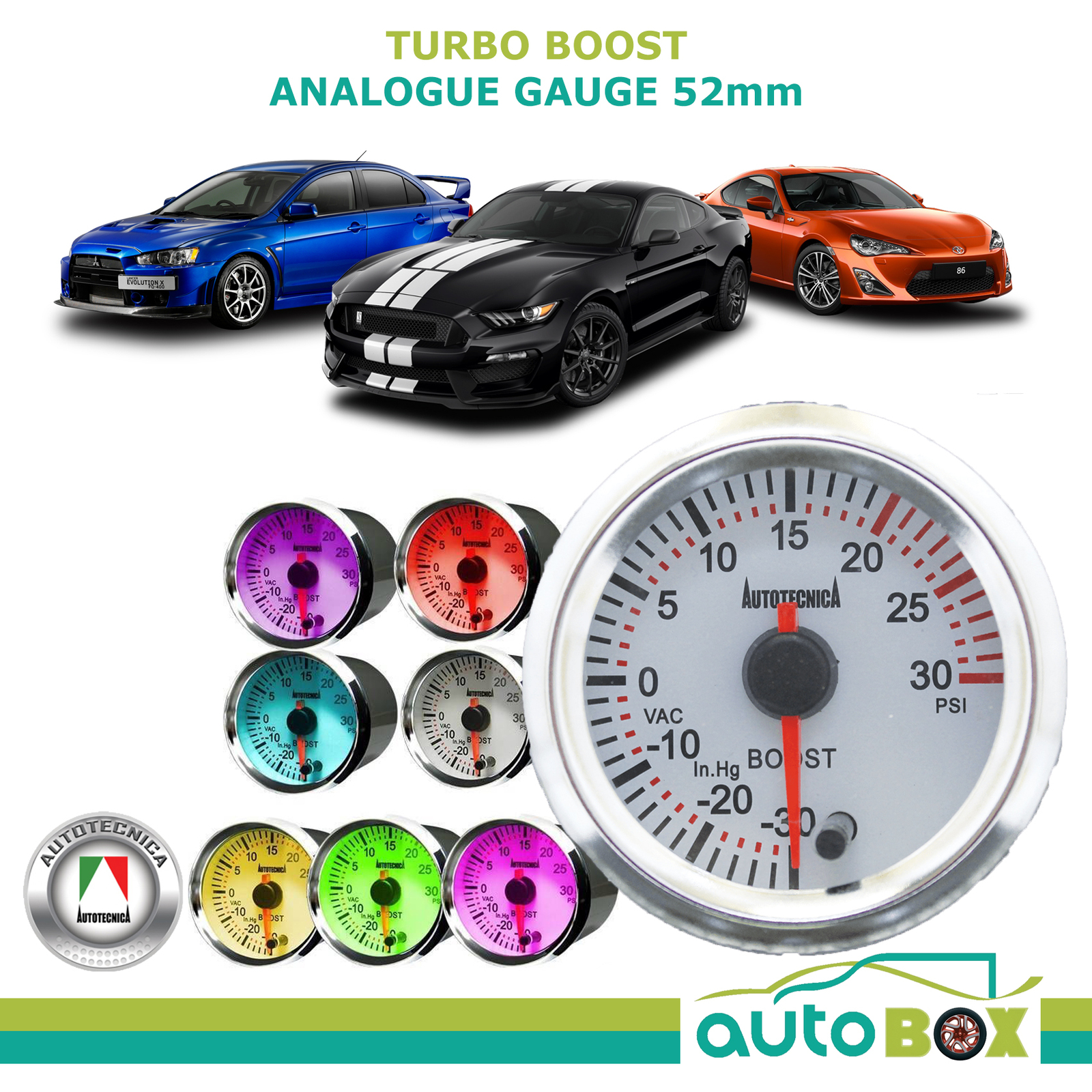 TURBO BOOST White Electronic Analogue Gauge 52mm by Autotecnica 7 Colours  12V