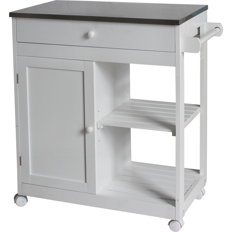 kitchen trolleys and islands mdf kitchen island trolley with stainless steel top buy 20136
