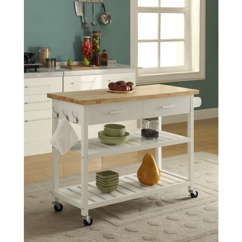 Kitchen Island Trolley With Open Shelves White