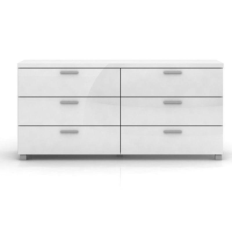 Elisha 6 Drawer Lowboy Chest In High Gloss White Buy