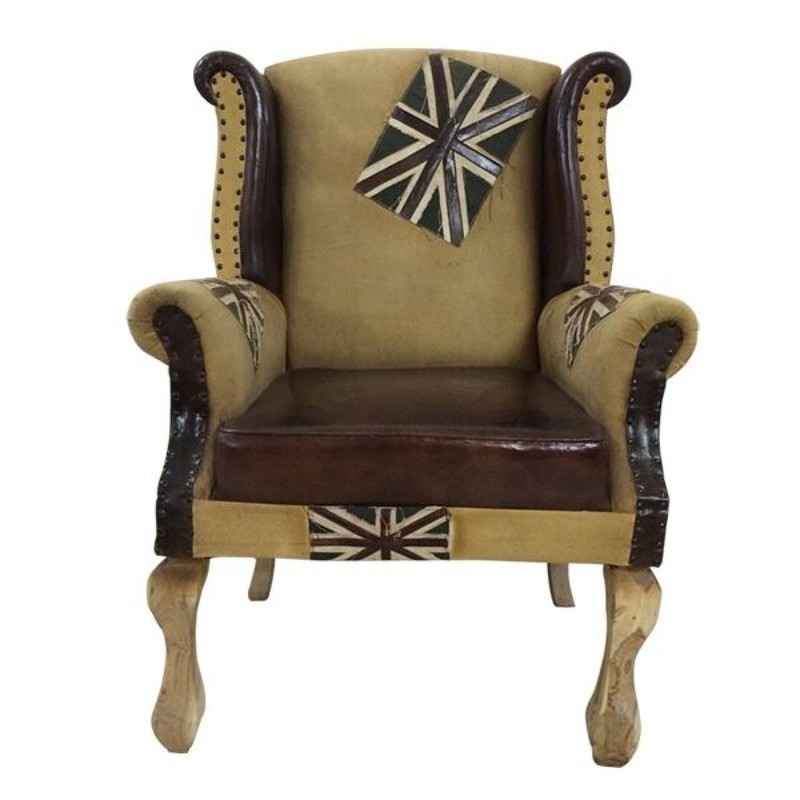 Vintage Leather Amp Canvas Sofa Armchair With Uk Flag Buy