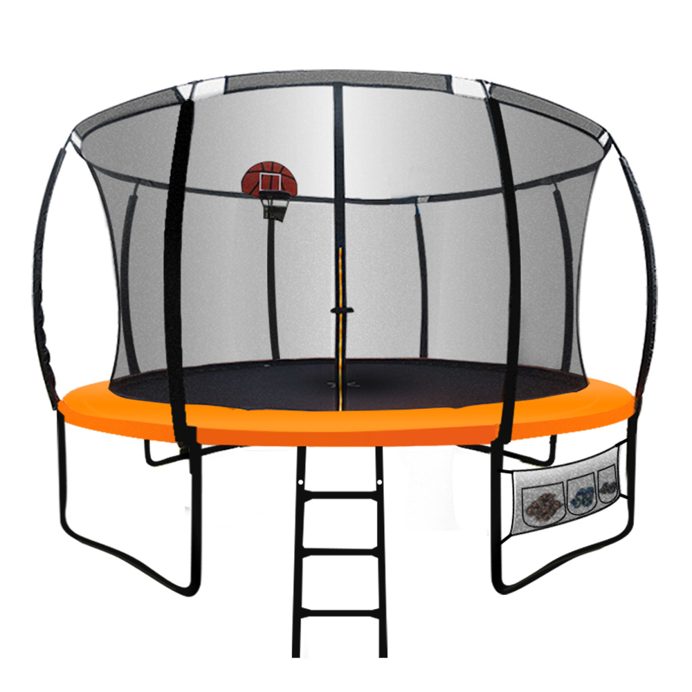 Up-Shot 14ft Round Trampoline FREE Basketball Safety Net
