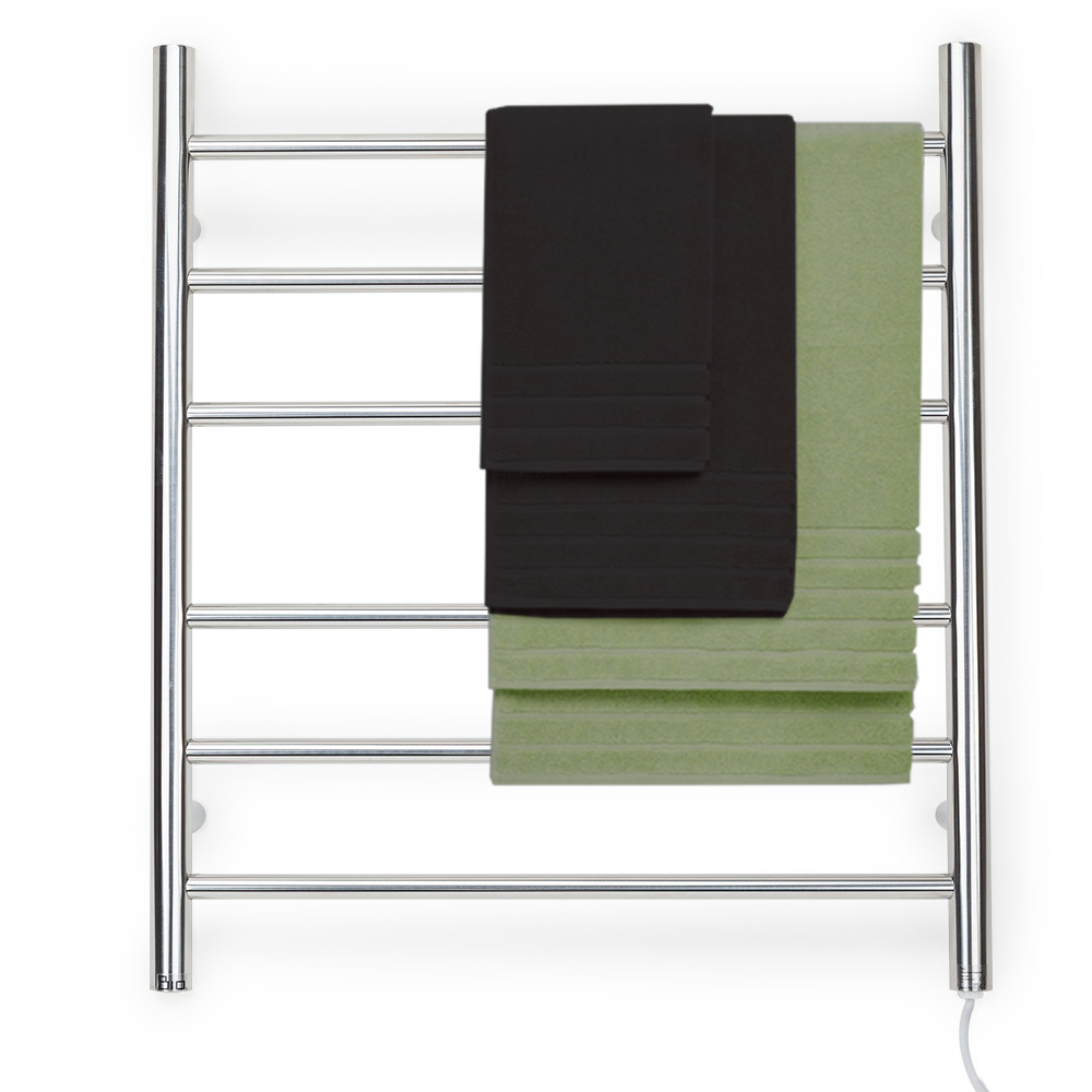 6 Rung Electric Heated Towel Rail: 6 Rung Round Style Heated Towel Rack