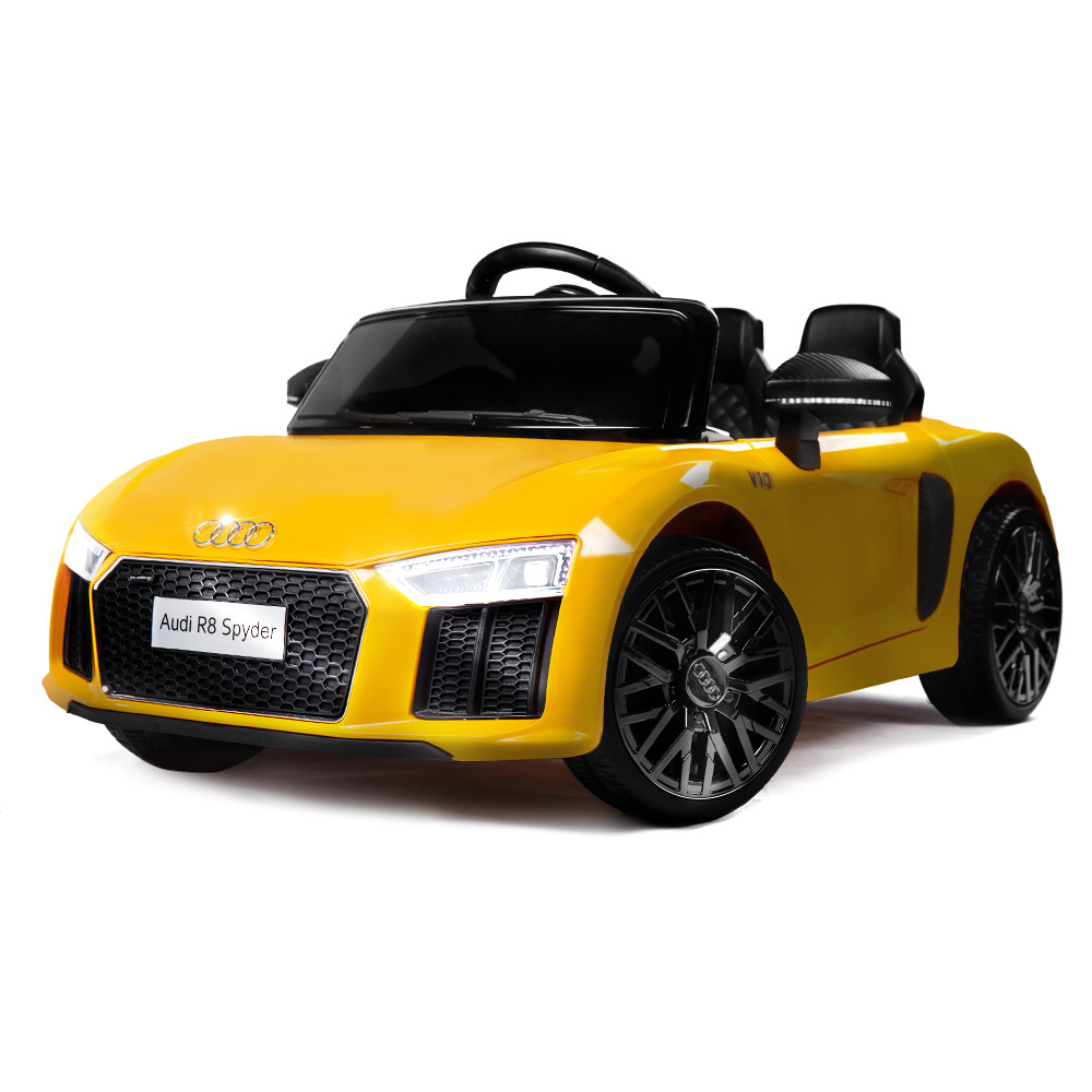 Kids Ride On Car Licensed Audi R8 Spyder Battery Electric Toy Remote 12v Yellow