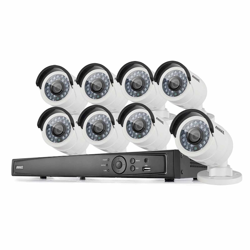 8CH 1080P HD POE ANNKE Security Camera System 8X 2MP Bullet Cameras No HDD