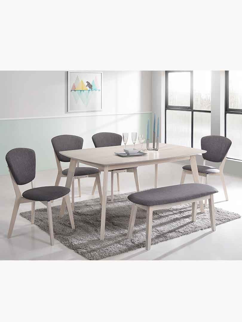 6 Piece Scandinavian Rubberwood Dining Set With 1.5m Table