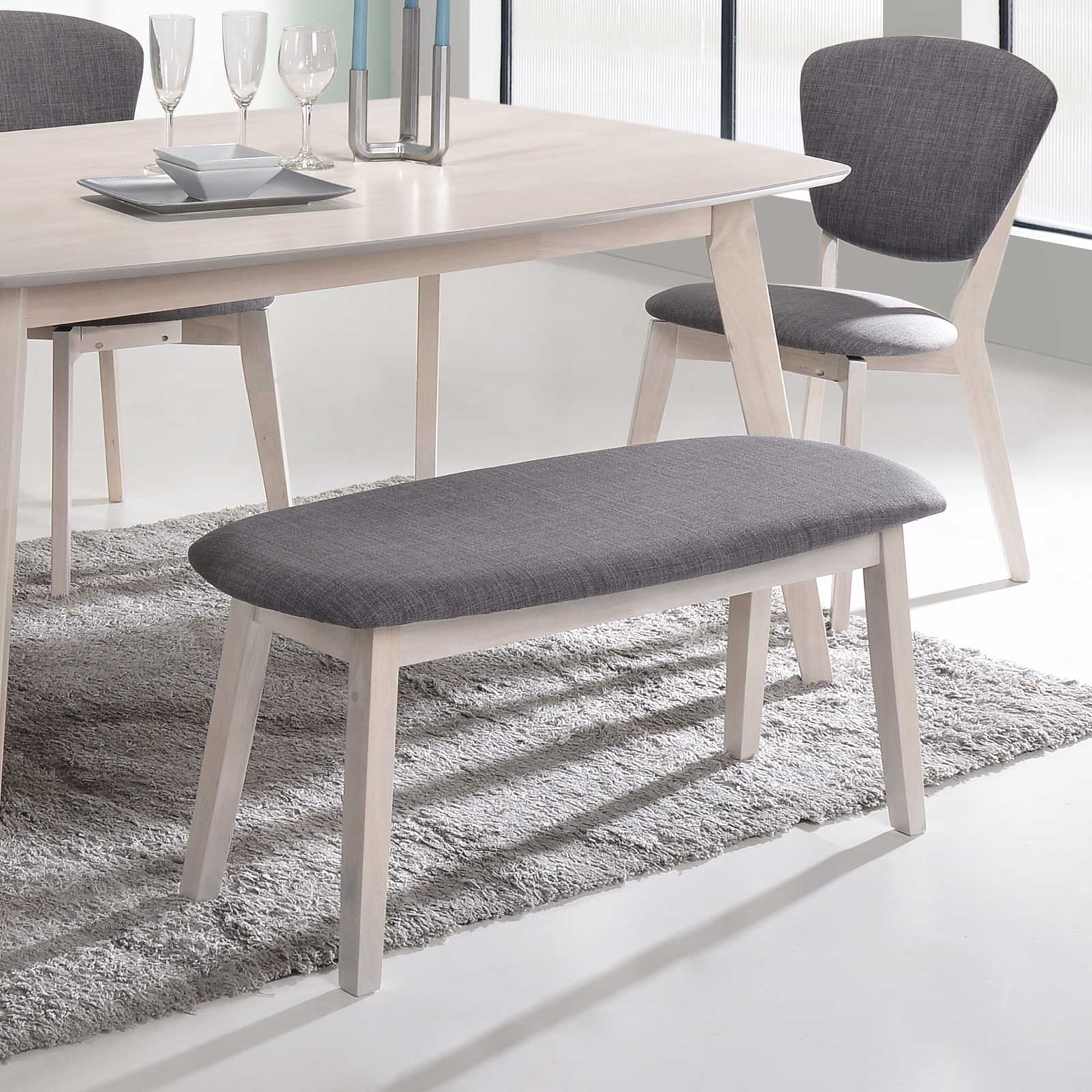 Table With Bench Seats: 6 Piece Scandinavian Rubberwood Dining Set With 1.5m Table