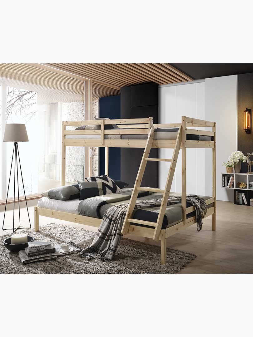 Astra Solid Timber Triple Bunk Bed Single Over Double Natural