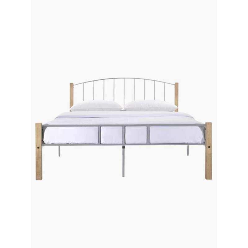 Luna Double Metal Bed Frame with Solid Rubberwood Pole in Silver or ...